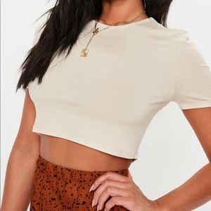 Missguided basic crop top in sand Sz. 6 NWT